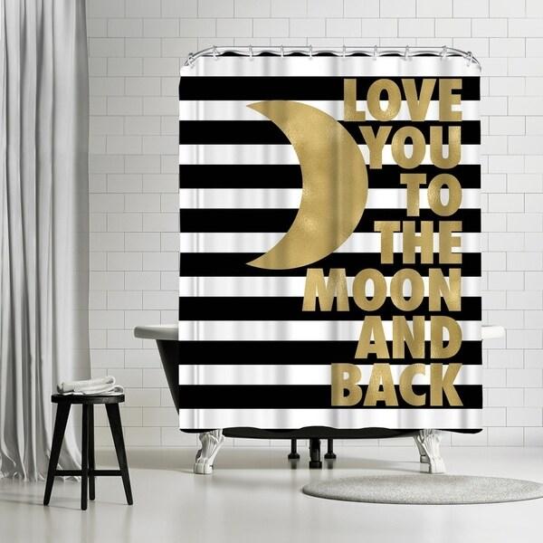 Americanflat Love You Moon Back Black White Stripe Shower Curtain
