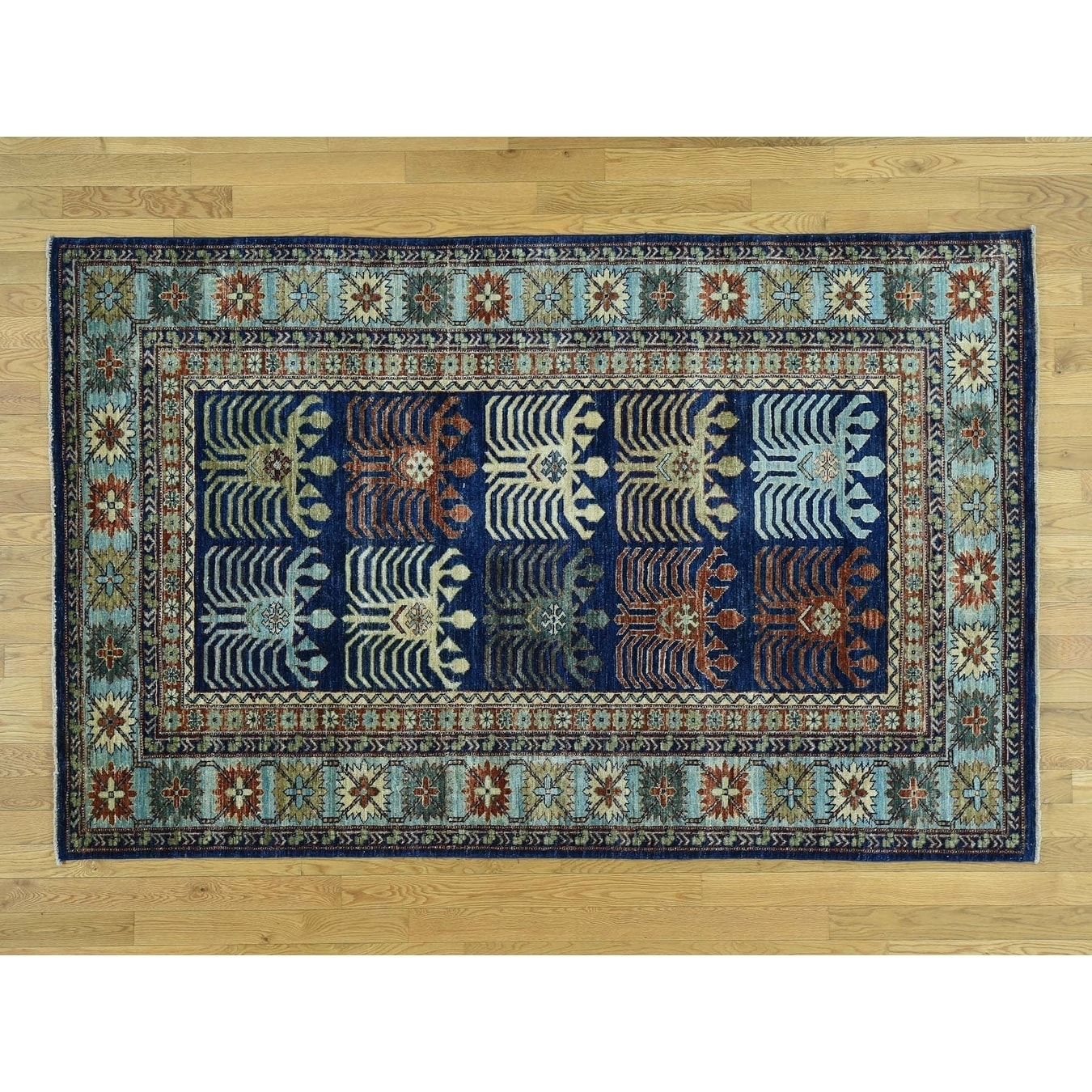 Hand Knotted Blue Tribal & Geometric with Wool Oriental Rug - 52 x 82