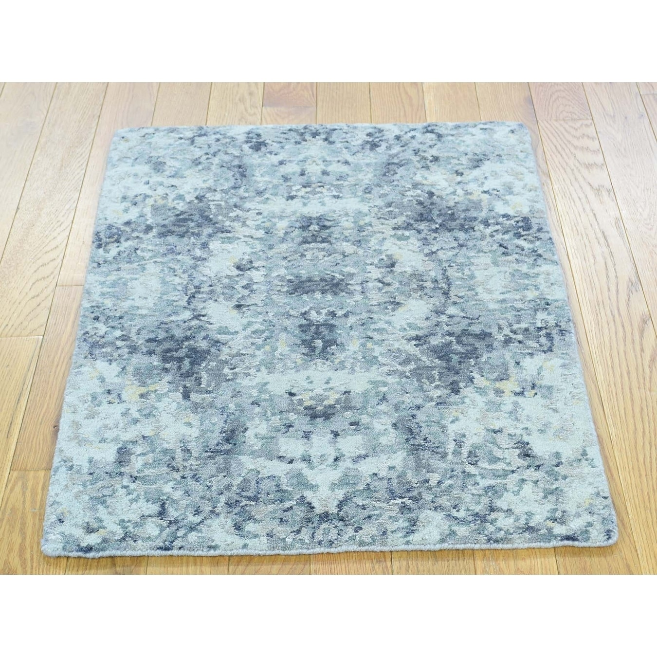 Hand Knotted Ivory Modern & Contemporary with Wool & Silk Oriental Rug - 2 x 210
