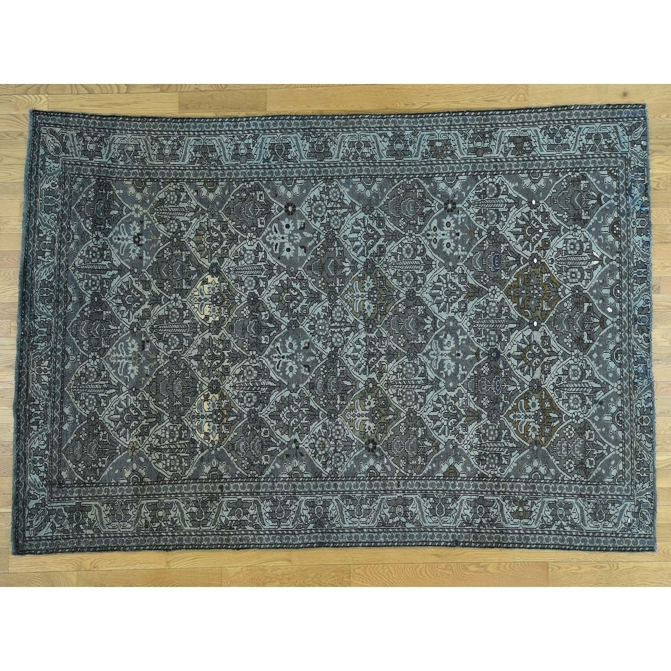 Hand Knotted Grey Overdyed & Vintage with Wool Oriental Rug - 7 x 99