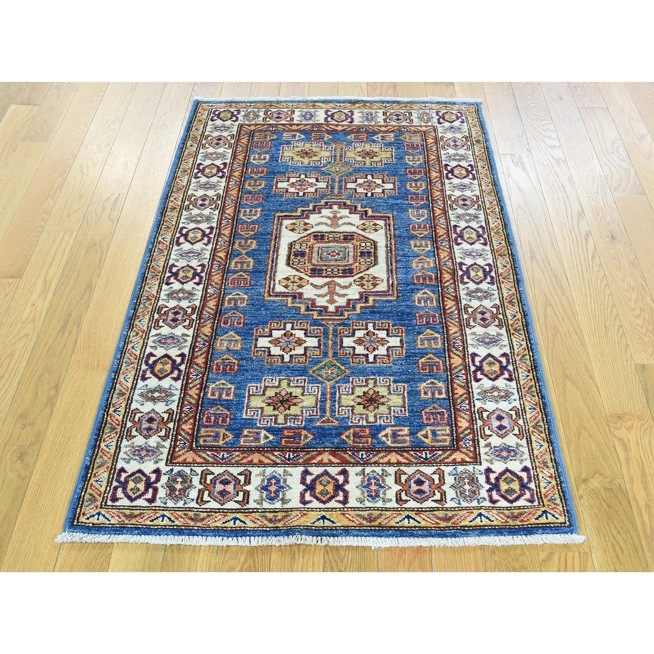 Hand Knotted Blue Kazak with Wool Oriental Rug - 27 x 45