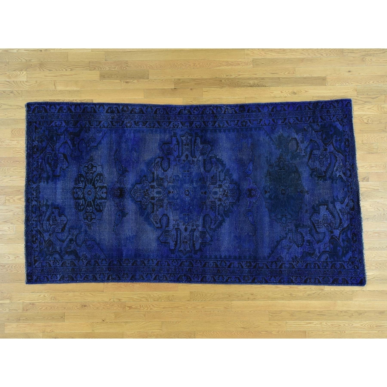 Hand Knotted Blue Overdyed & Vintage with Wool Oriental Rug - 52 x 92
