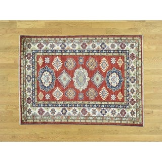 Hand Knotted Red Kazak with Wool Oriental Rug - 4'1 x 5'7