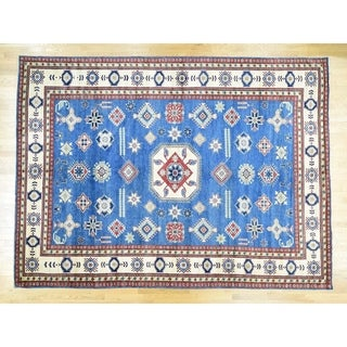 Hand Knotted Blue Kazak with Wool Oriental Rug - 10'9 x 14'6