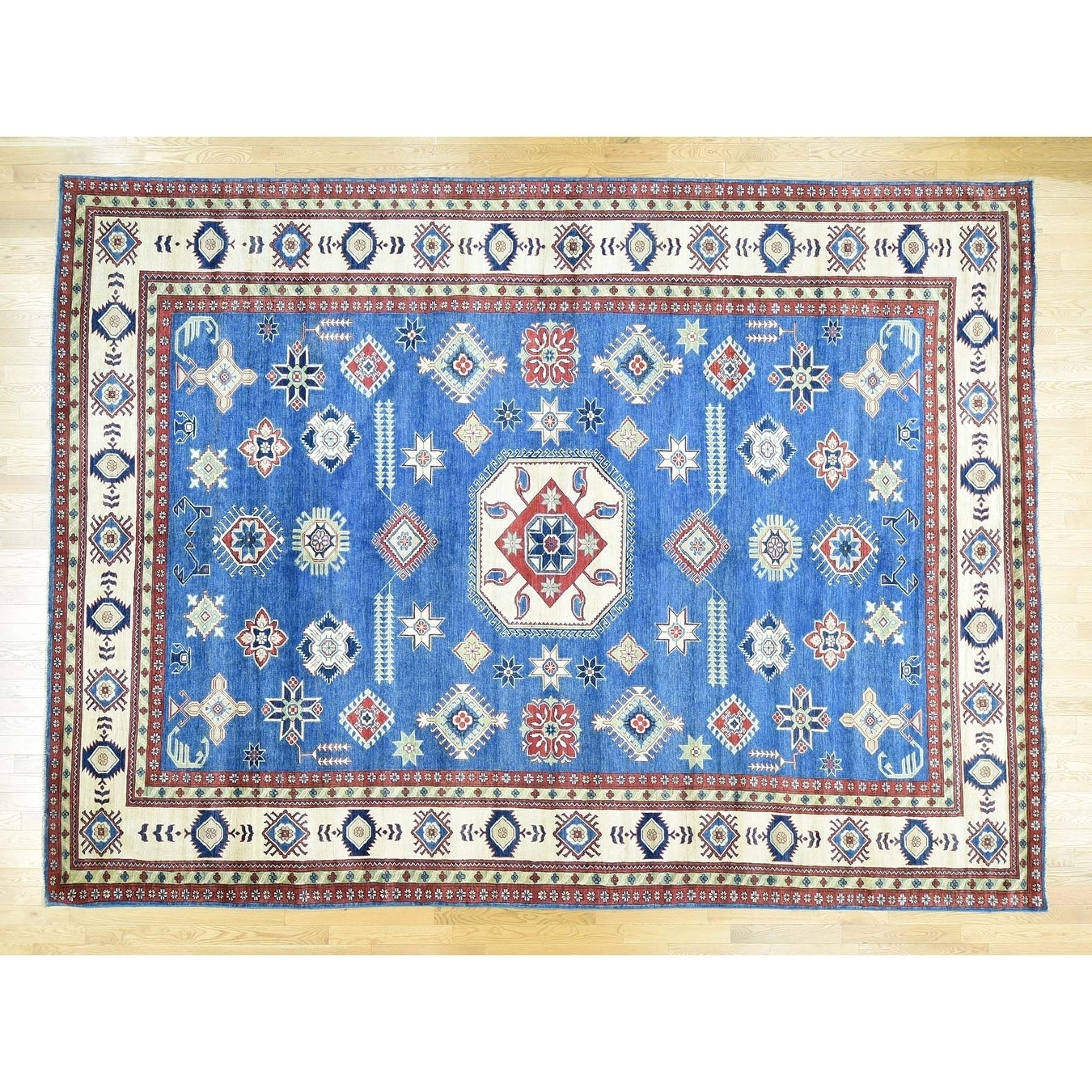 Hand Knotted Blue Kazak with Wool Oriental Rug - 109 x 146