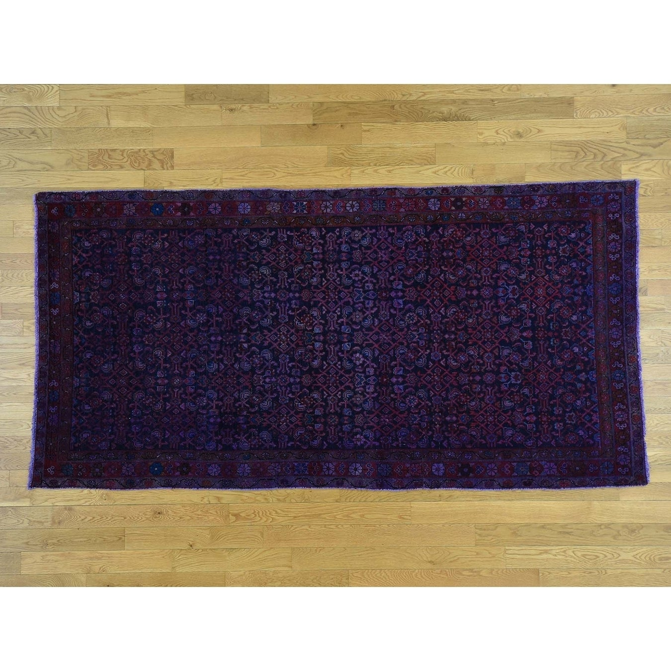 Hand Knotted Purple Overdyed & Vintage with Wool Oriental Rug - 410 x 910