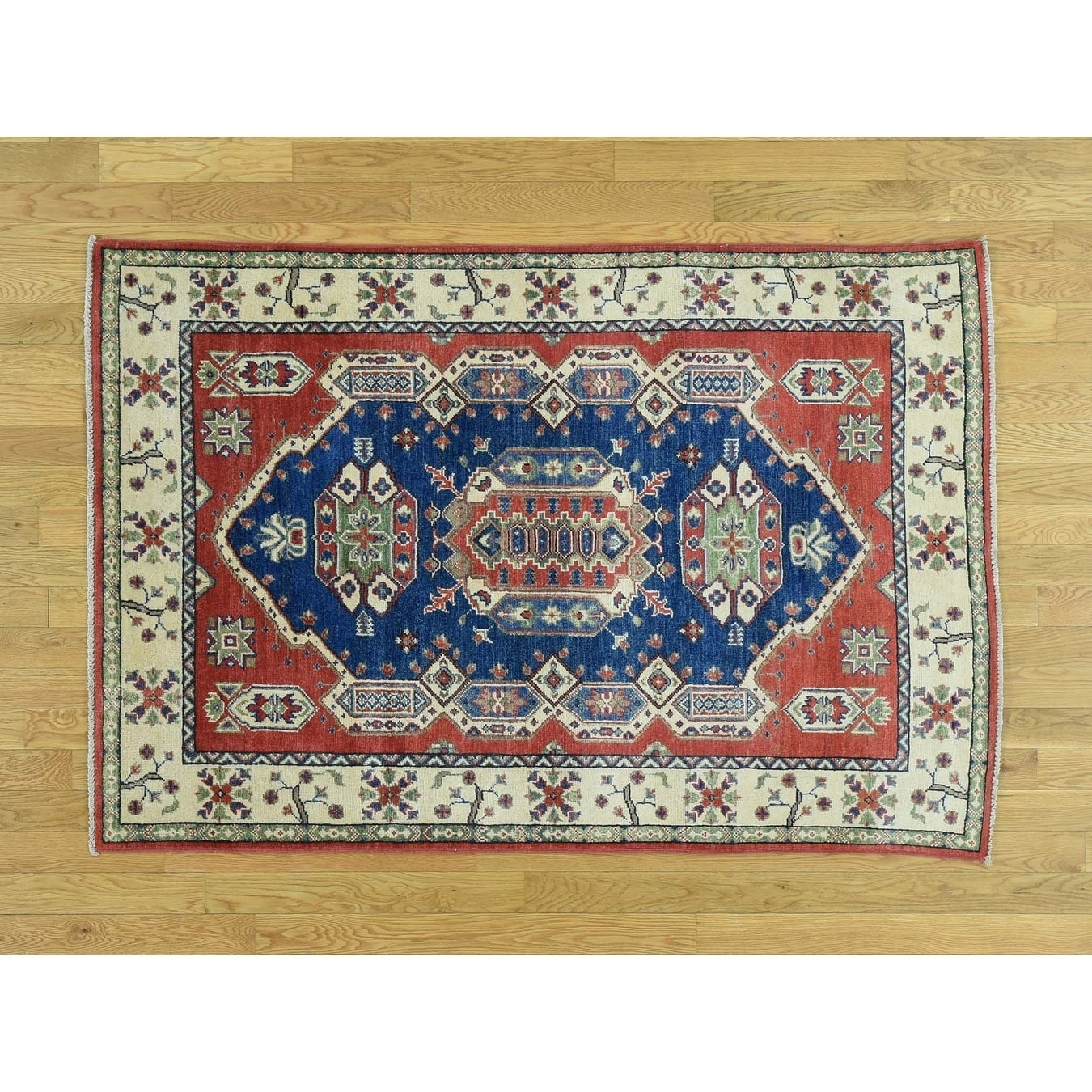 Hand Knotted Blue Kazak with Wool Oriental Rug - 41 x 6