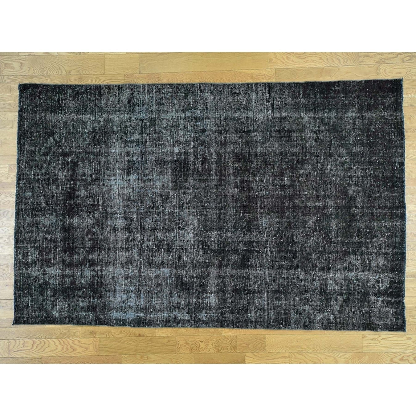Hand Knotted Black Overdyed & Vintage with Wool Oriental Rug - 74 x 118