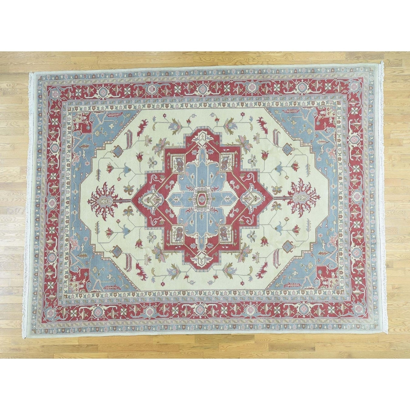 Hand Knotted Ivory Clearance with Wool Oriental Rug