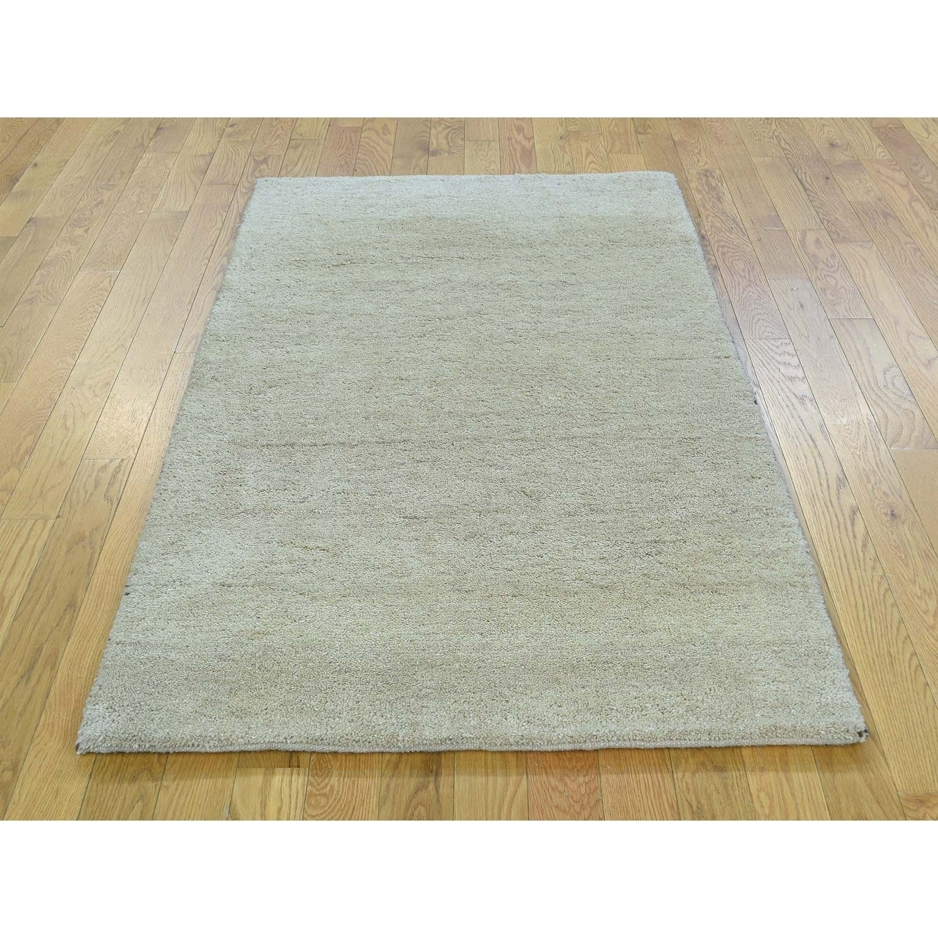 Hand Knotted Beige Modern & Contemporary with Wool Oriental Rug - 3 x 54