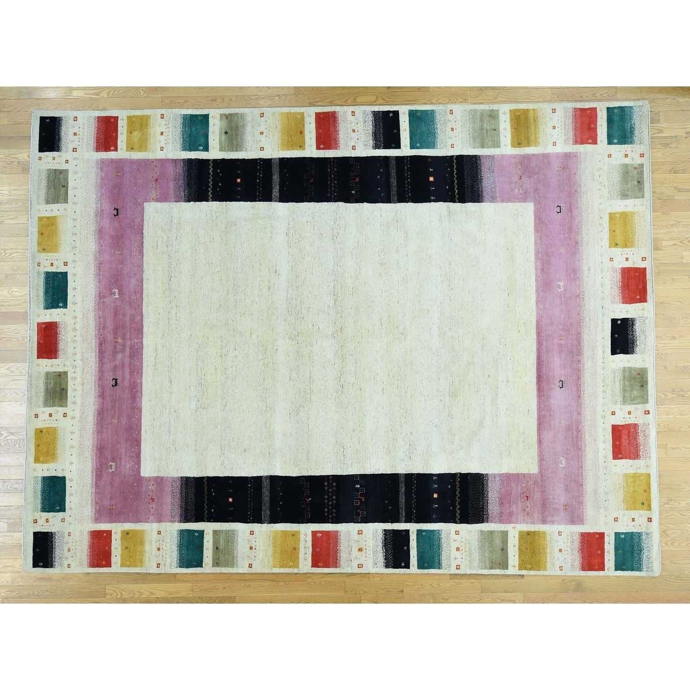 Hand Knotted Ivory Modern & Contemporary with Wool Oriental Rug - 910 x 133