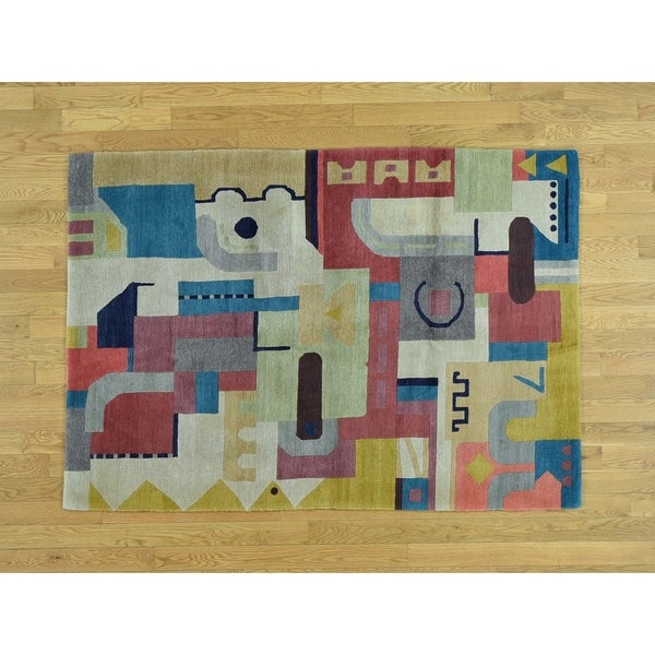 Hand Knotted Multicolored Modern & Contemporary with Wool Oriental Rug - 4'3 x 6'