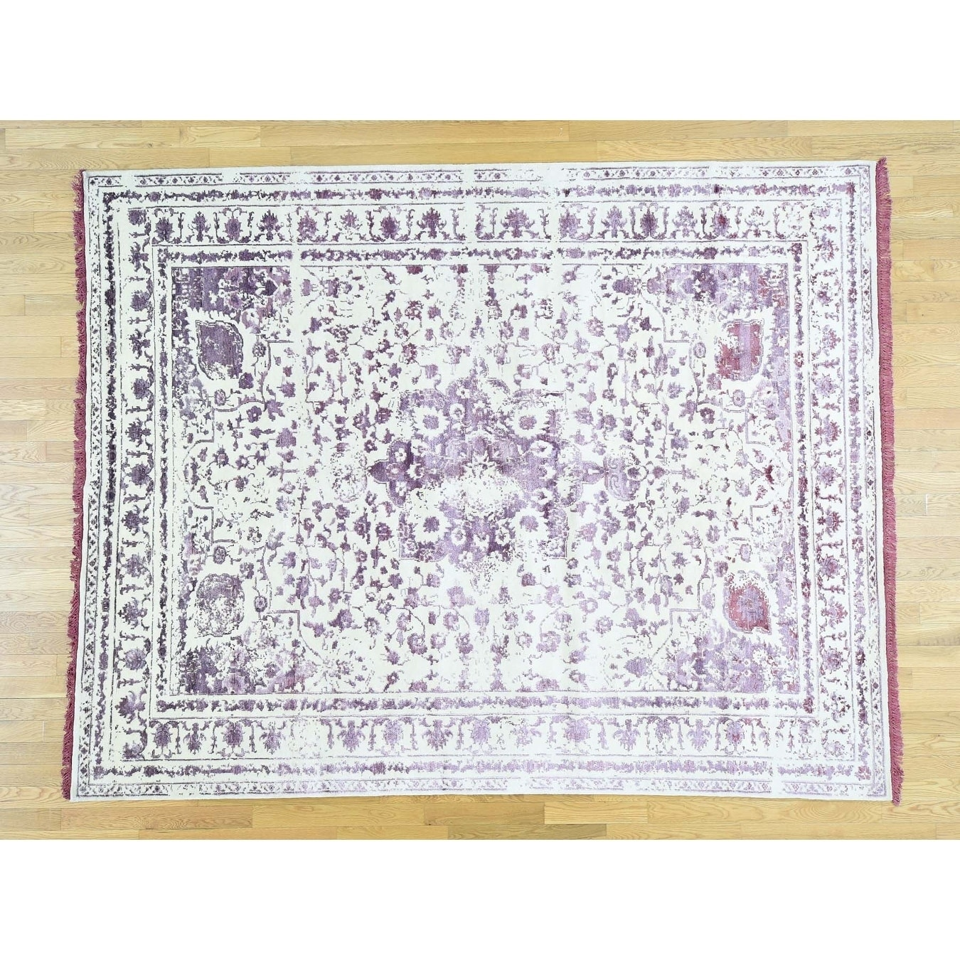 Hand Knotted Purple Modern & Contemporary with Wool & Silk Oriental Rug - 81 x 103