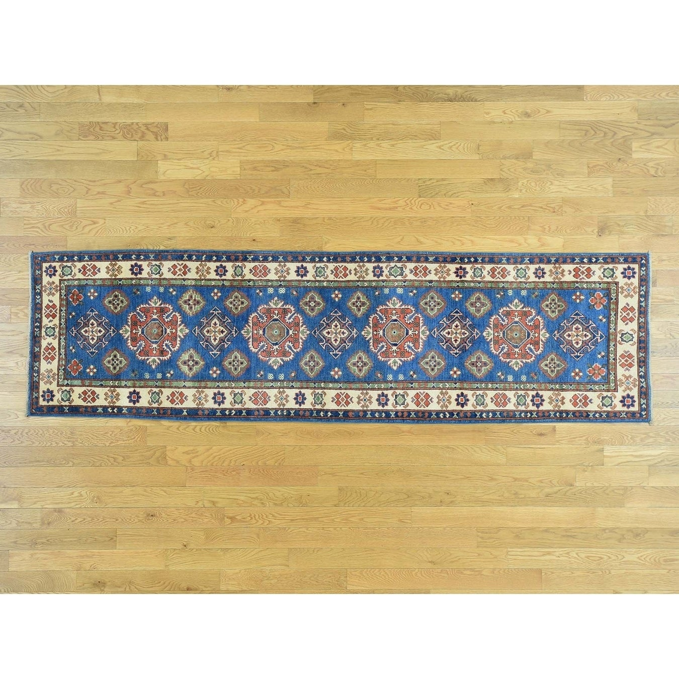 Hand Knotted Blue Kazak with Wool Oriental Rug - 28 x 99