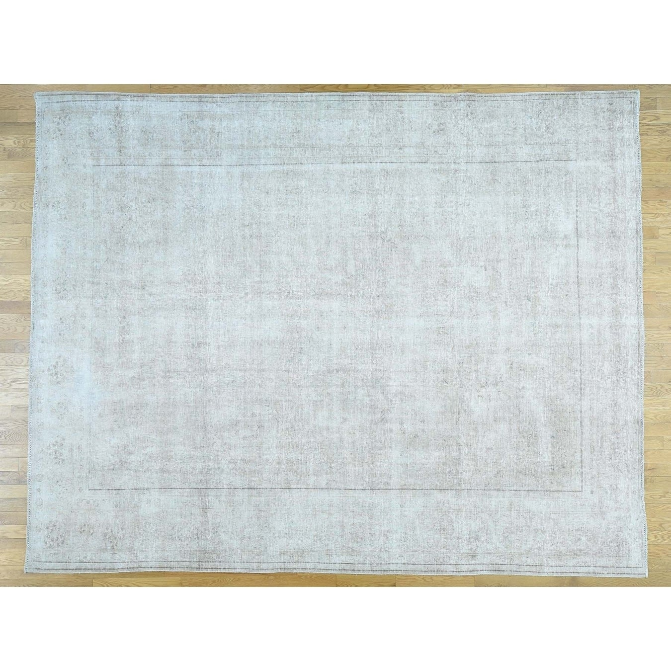 Hand Knotted Ivory White Wash Vintage & Silver Wash with Wool Oriental Rug - 101 x 128