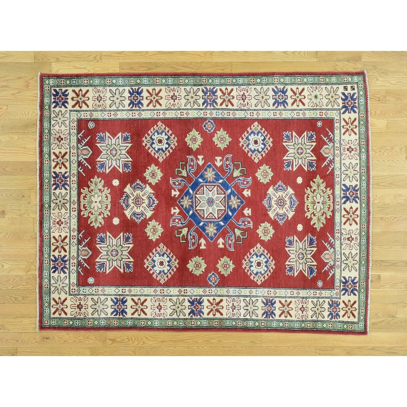 Hand Knotted Red Kazak with Wool Oriental Rug - 5 x 64