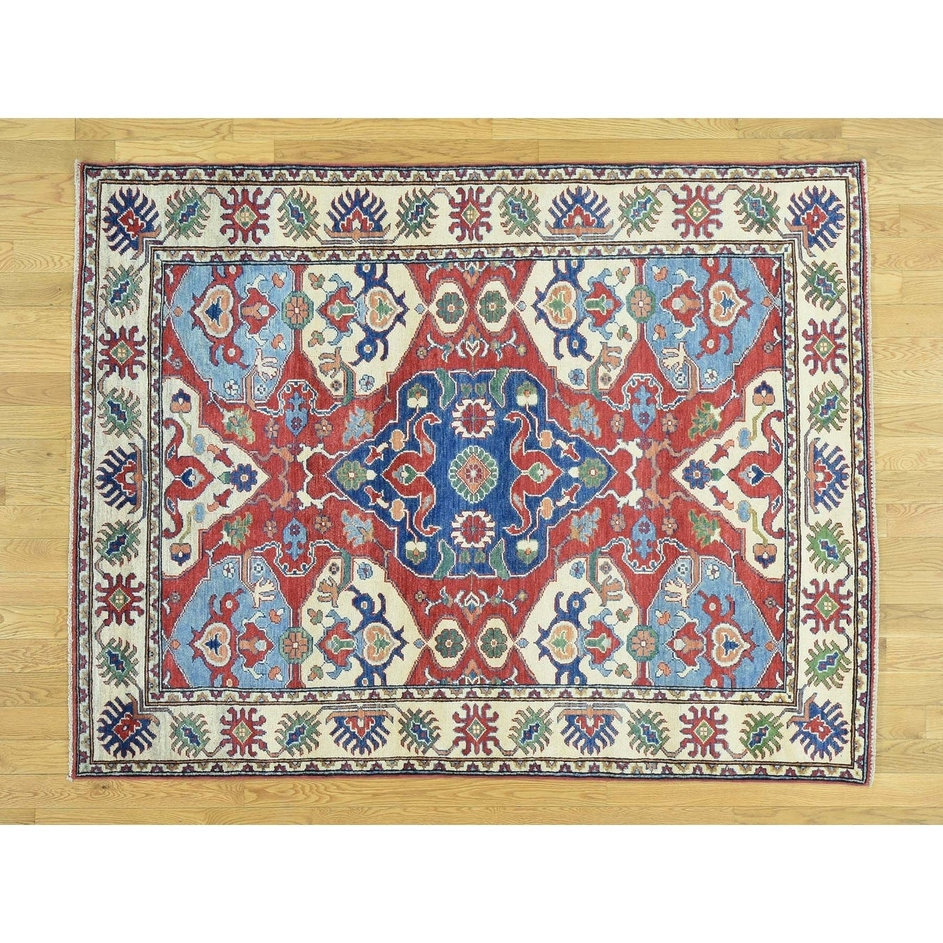 Hand Knotted Red Kazak with Wool Oriental Rug - 5 x 66
