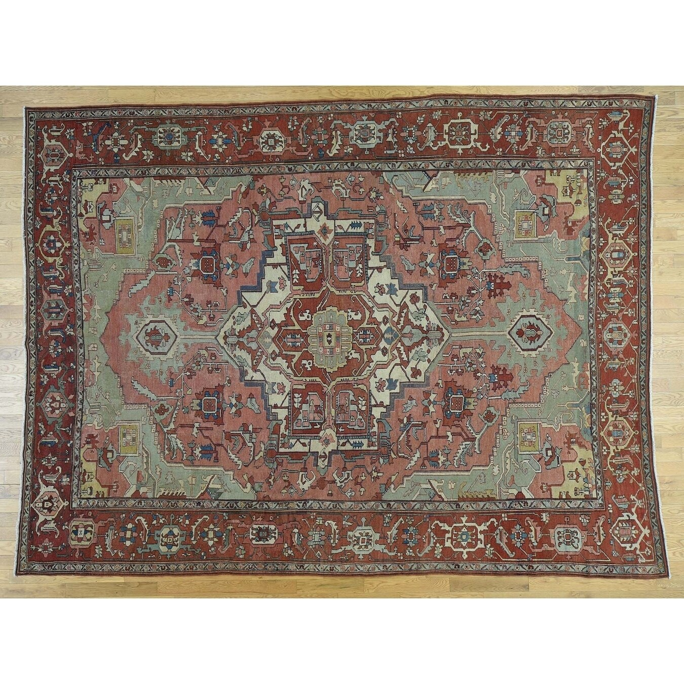 Hand Knotted Pink Antique with Wool Oriental Rug - 95 x 128