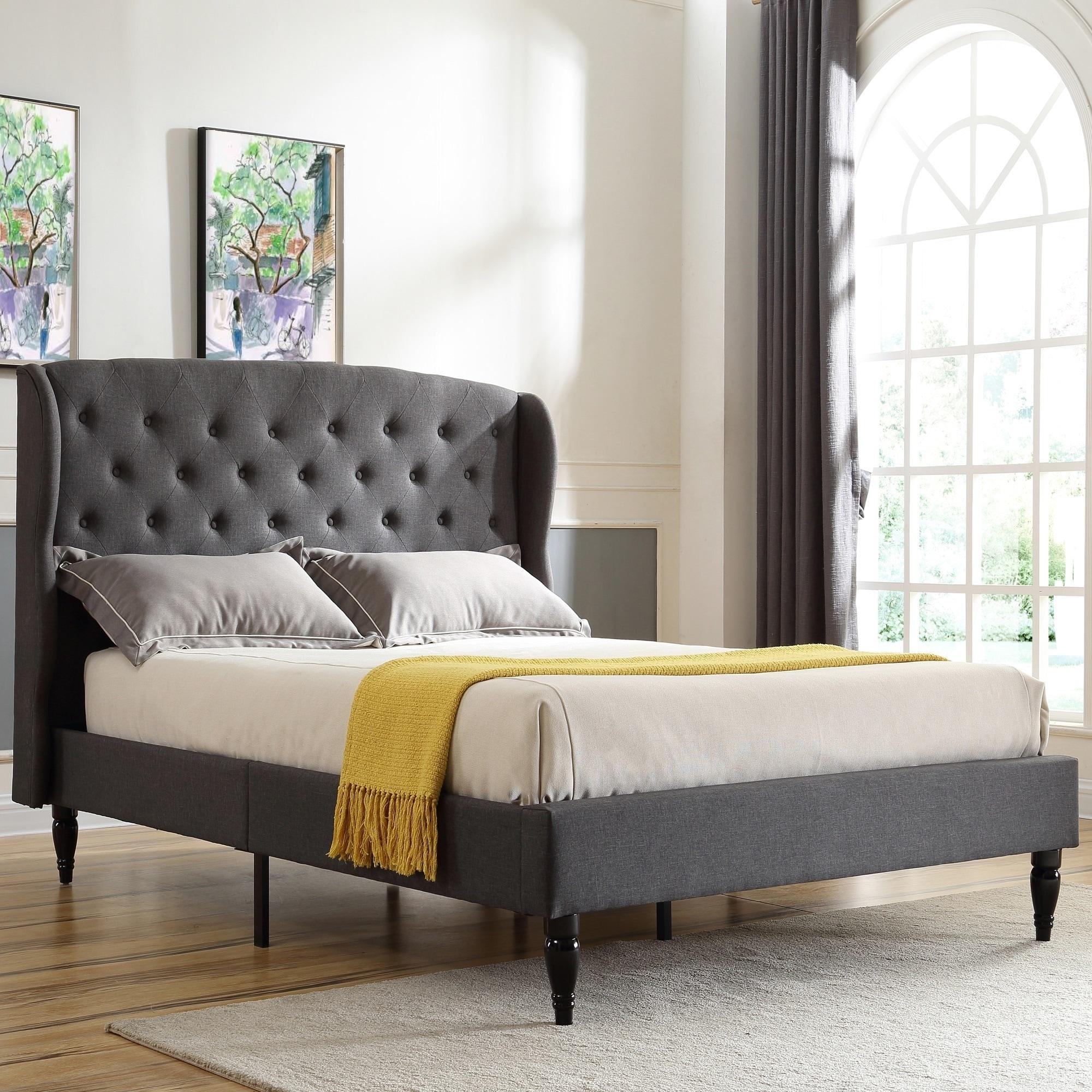 Queen Size Upholstered Linen Platform Bed Frame Headboard w//Wood Slats Gray