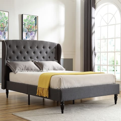 Classic Brands Coventry Upholstered Platform Bed - Metal Frame with Wood Slat Support