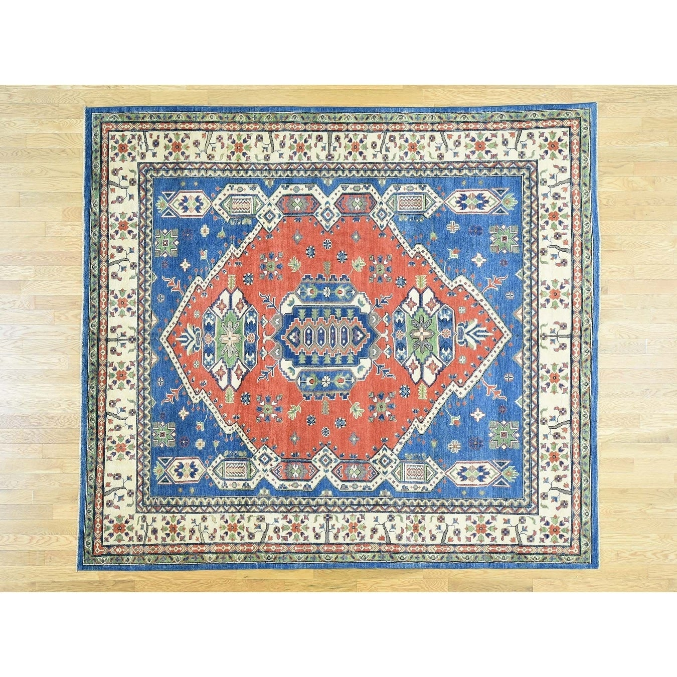 Hand Knotted Red Kazak with Wool Oriental Rug - 86 x 96