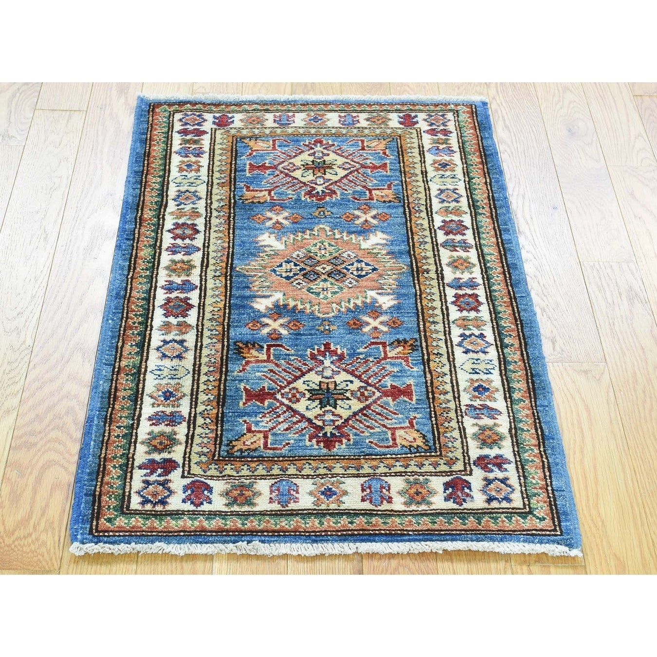 Hand Knotted Blue Kazak with Wool Oriental Rug - 2 x 3
