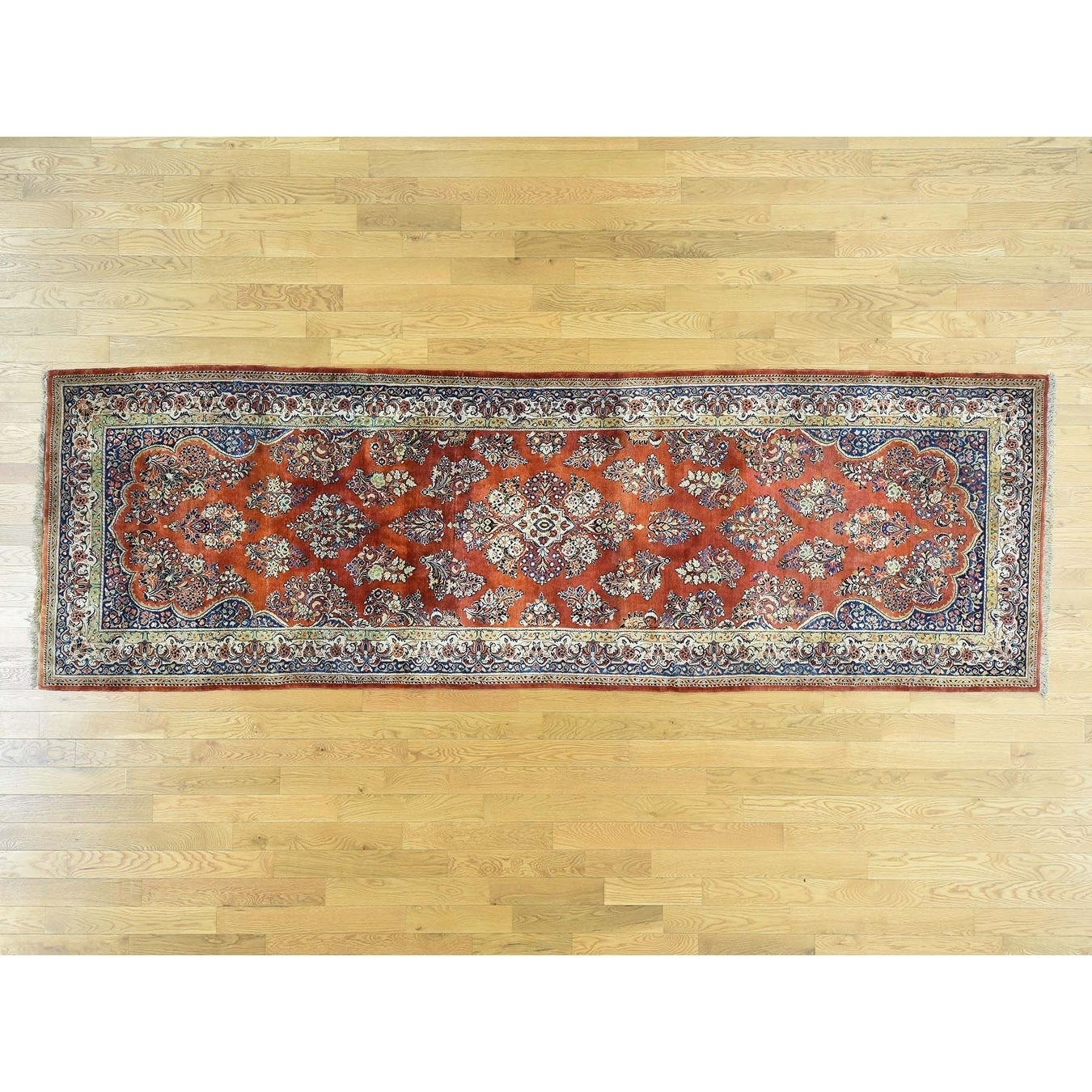 Hand Knotted Red Antique with Wool Oriental Rug - 44 x 134