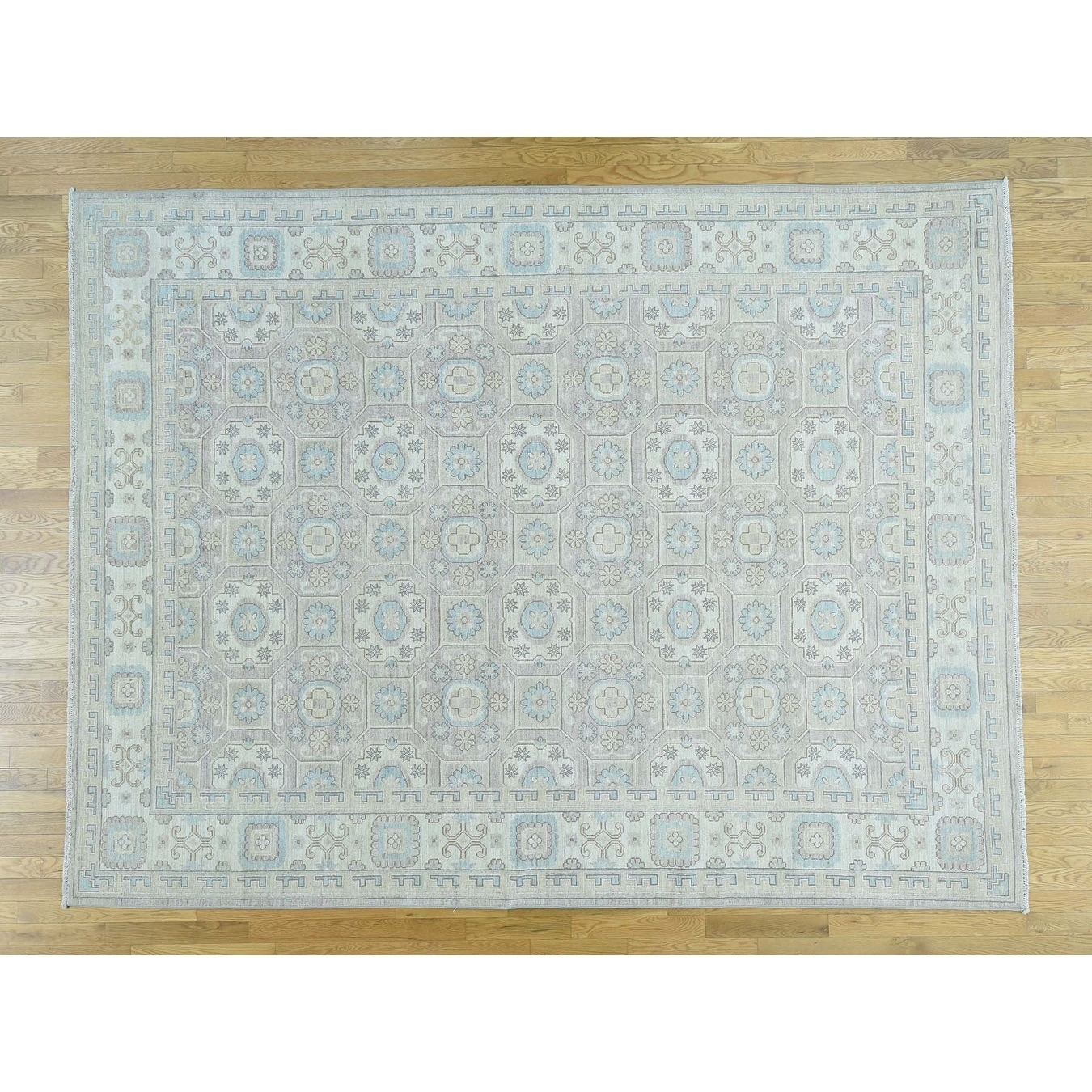 Hand Knotted Grey Khotan and Samarkand with Wool Oriental Rug - 92 x 12