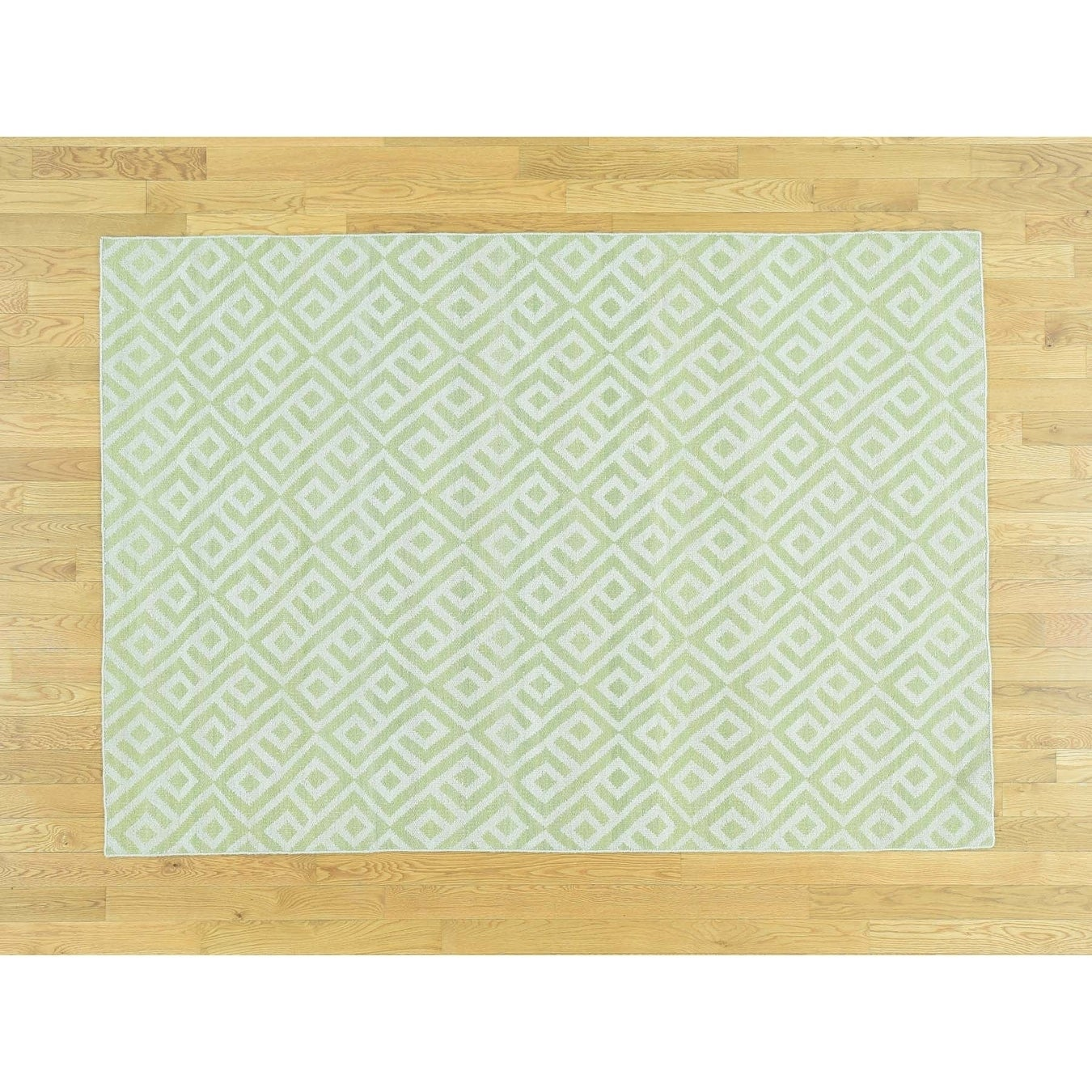 Hand Knotted Green Flat Weave with Wool Oriental Rug - 5 x 71
