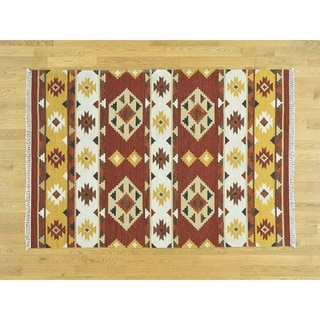 Hand Knotted Multicolored Flat Weave with Wool Oriental Rug - 4'8 x 6'9