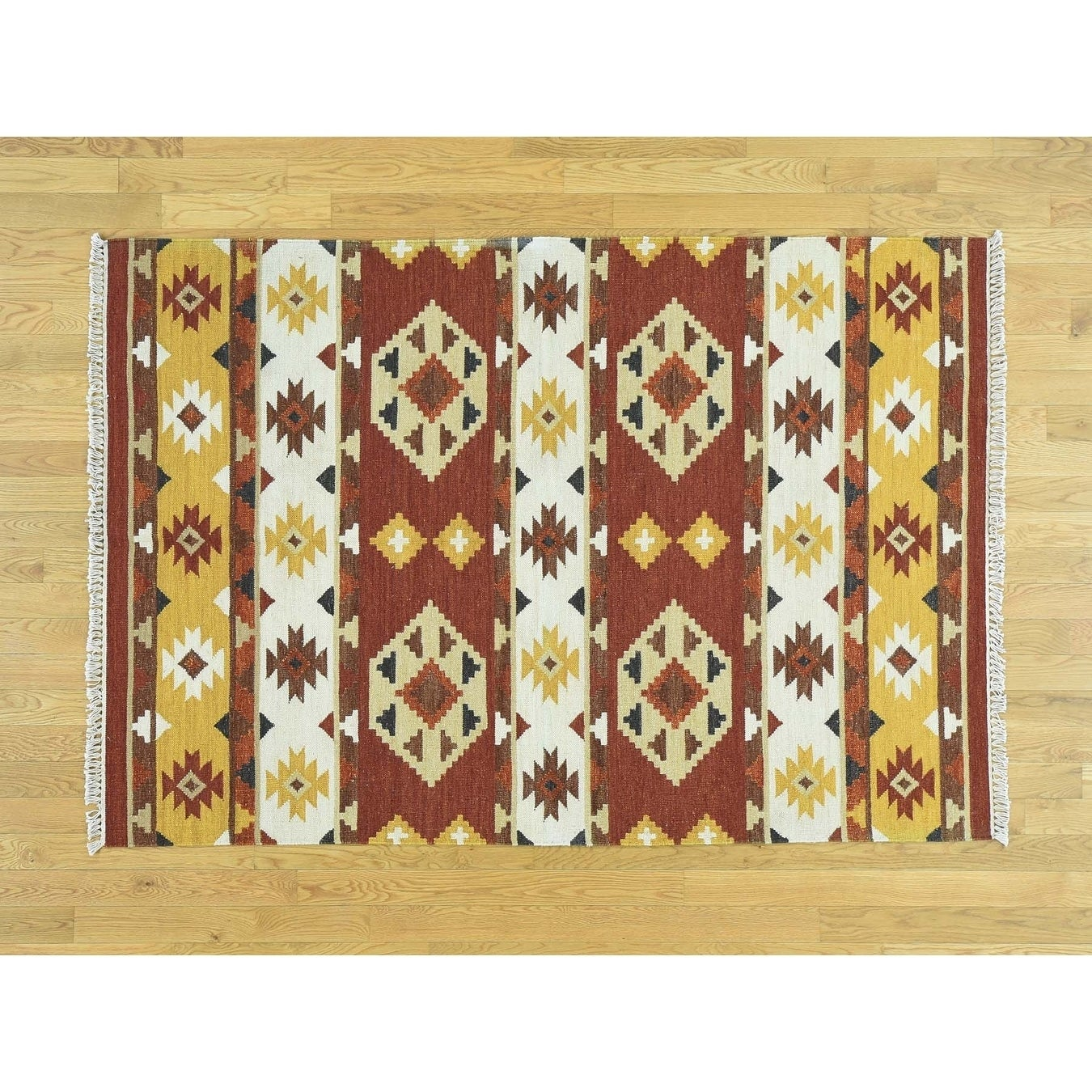 Hand Knotted Multicolored Flat Weave with Wool Oriental Rug - 48 x 69