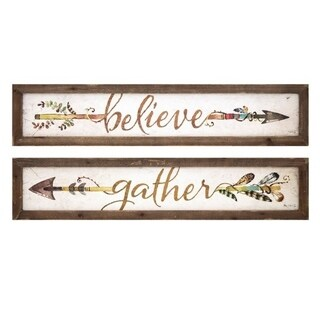 Harvest Believe and Gather Brown Wall Plaques (Set of 2) - Multi-color/White