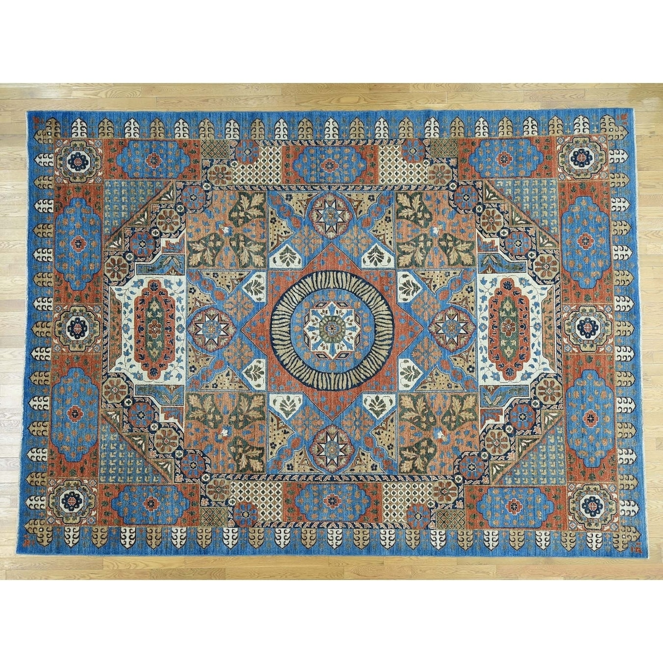 Hand Knotted Blue Mamluk with Wool Oriental Rug - 101 x 1310