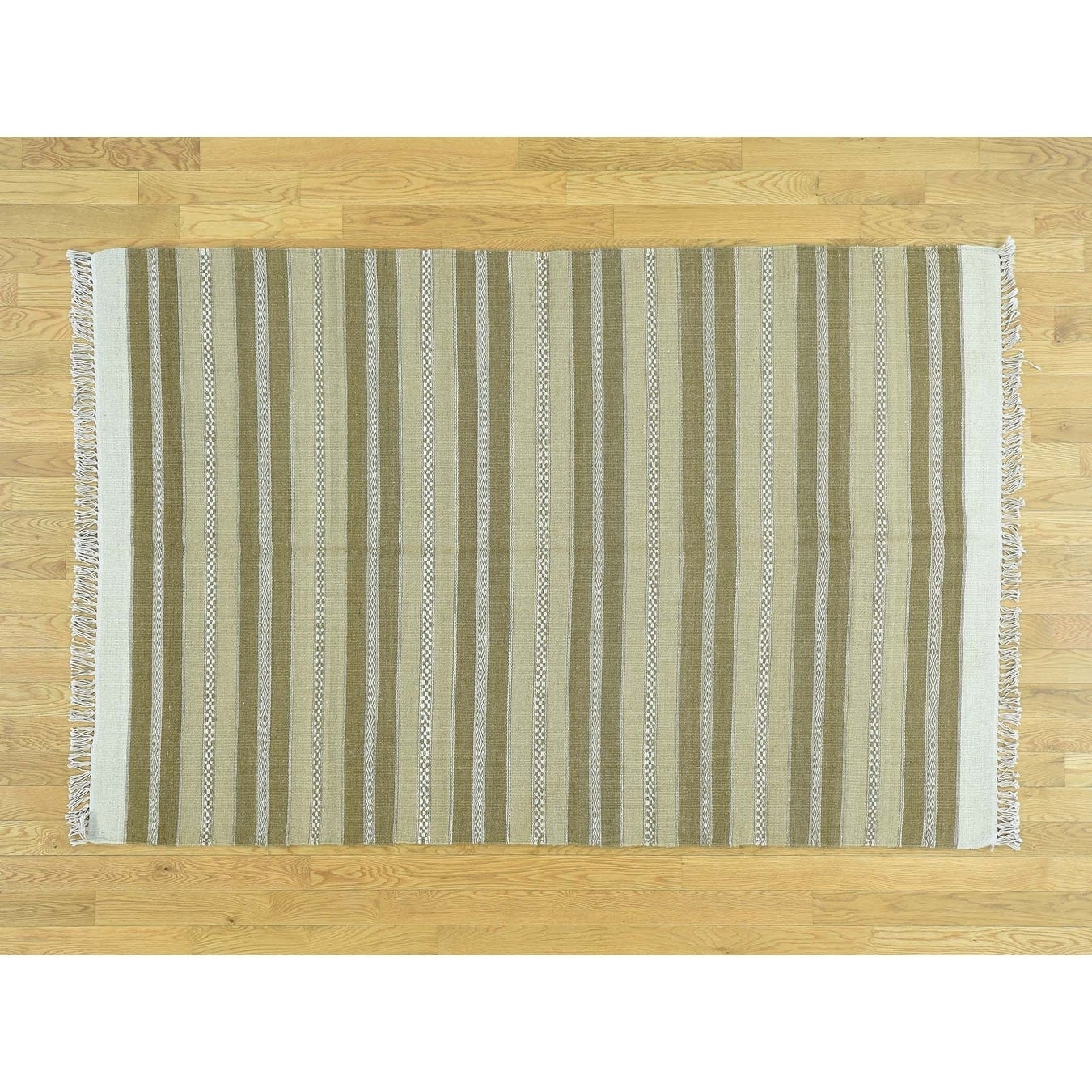 Hand Knotted Beige Flat Weave with Wool Oriental Rug - 49 x 73