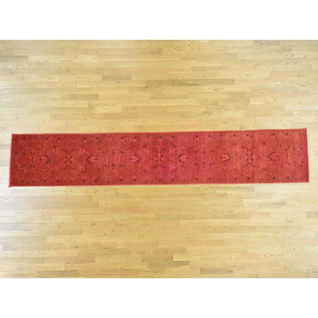Hand Knotted Red Overdyed & Vintage with Wool Oriental Rug