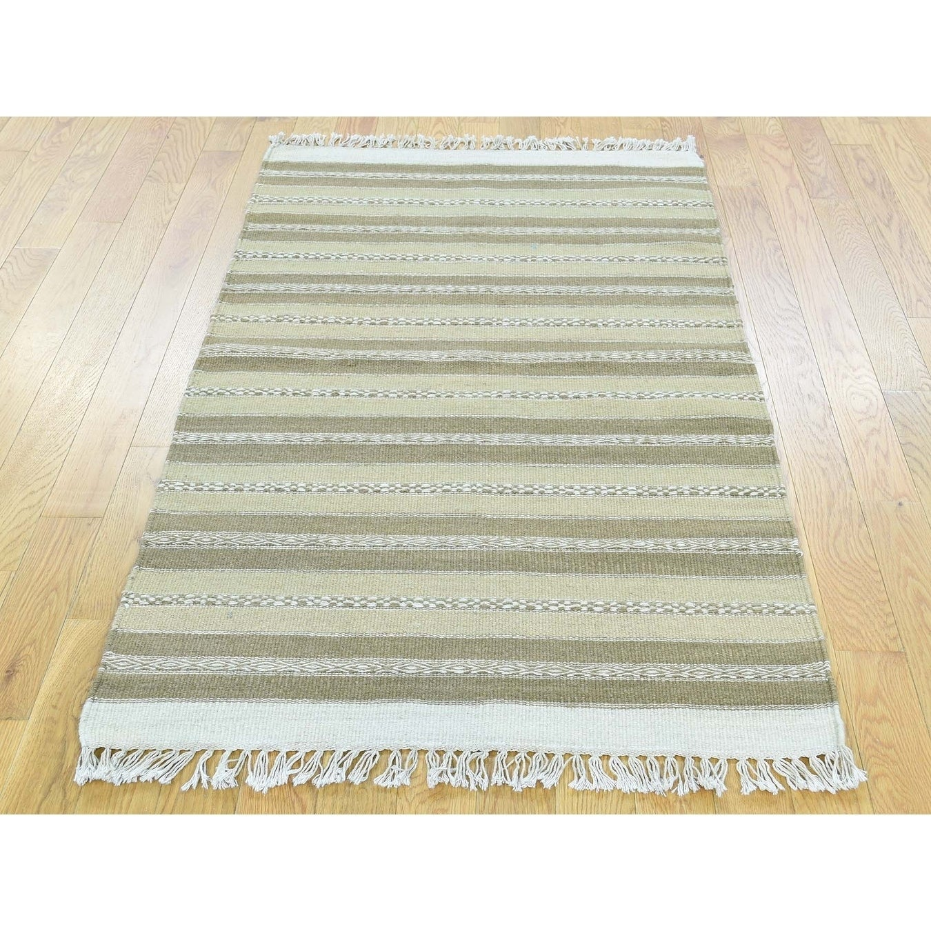 Hand Knotted Multicolored Flat Weave with Wool Oriental Rug - 29 x 410