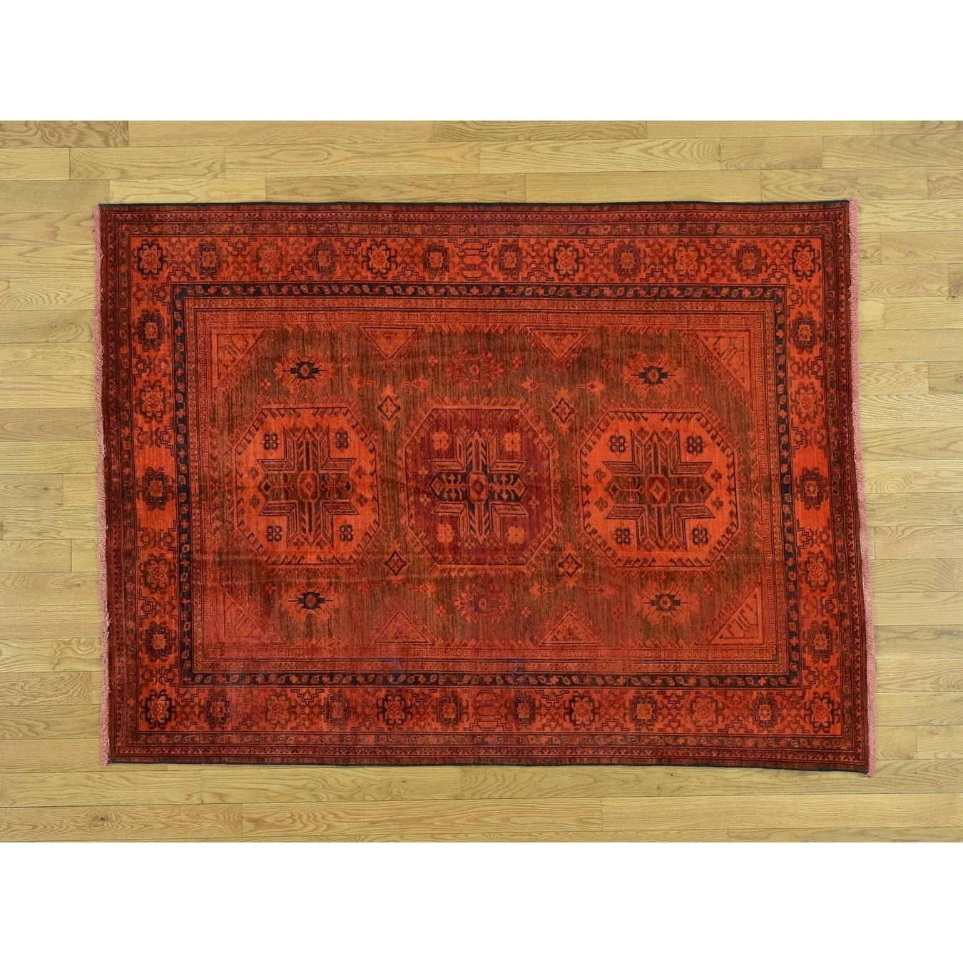 Hand Knotted Orange Overdyed & Vintage with Wool Oriental Rug - 49 x 64