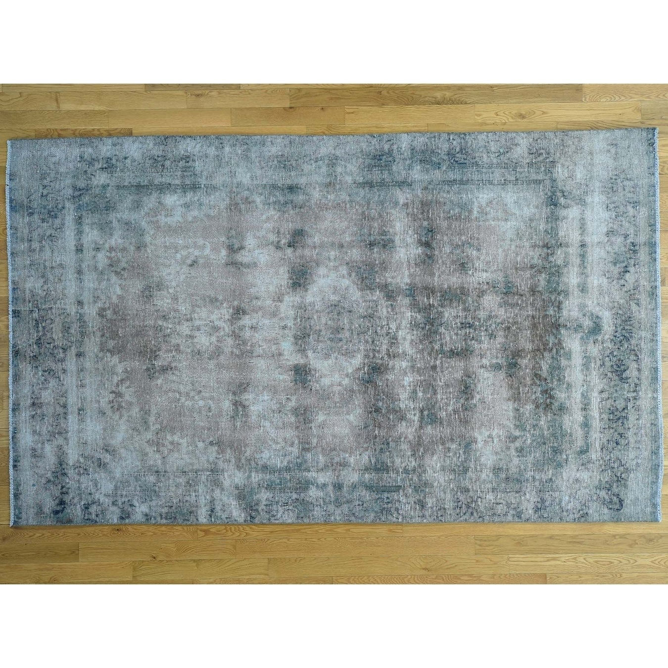 Hand Knotted Blue Overdyed & Vintage with Wool Oriental Rug - 57 x 95