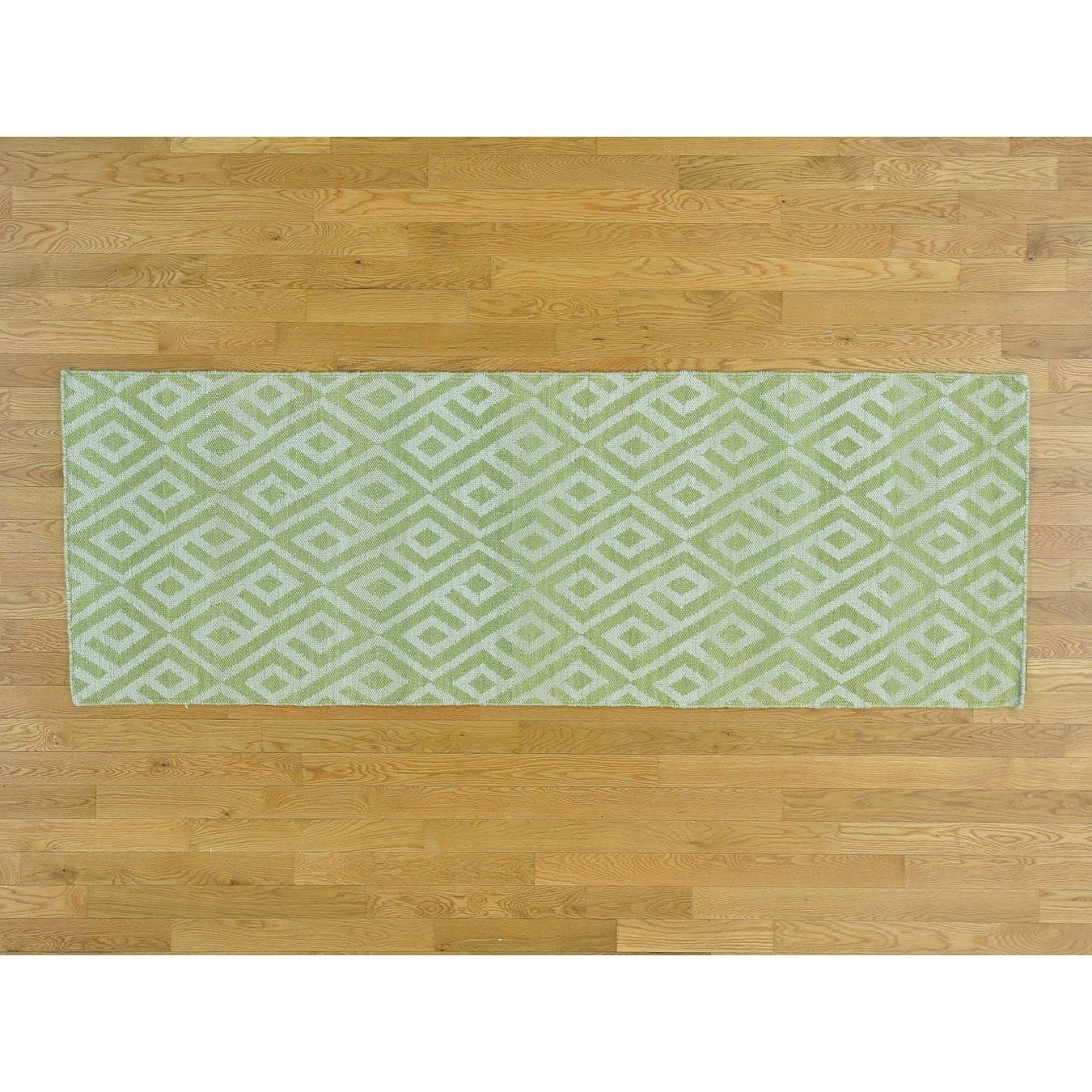 Hand Knotted Green Flat Weave with Wool Oriental Rug