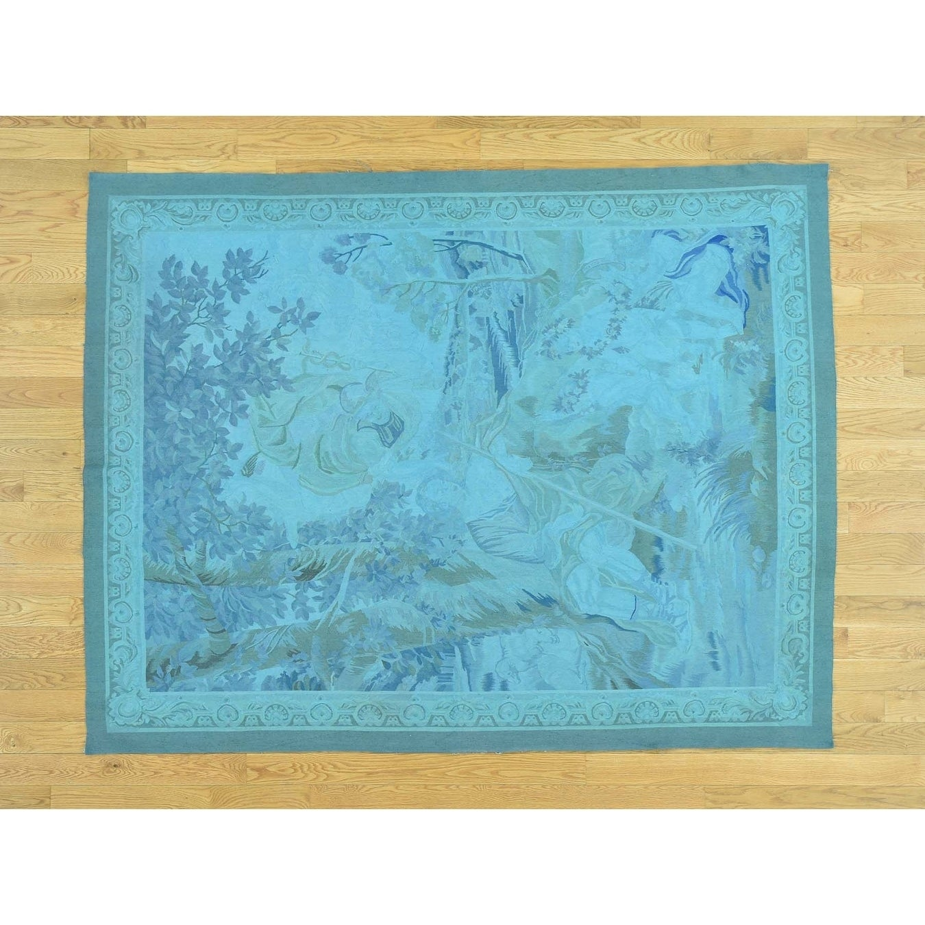Hand Knotted Blue European with Wool Oriental Rug - 51 x 610