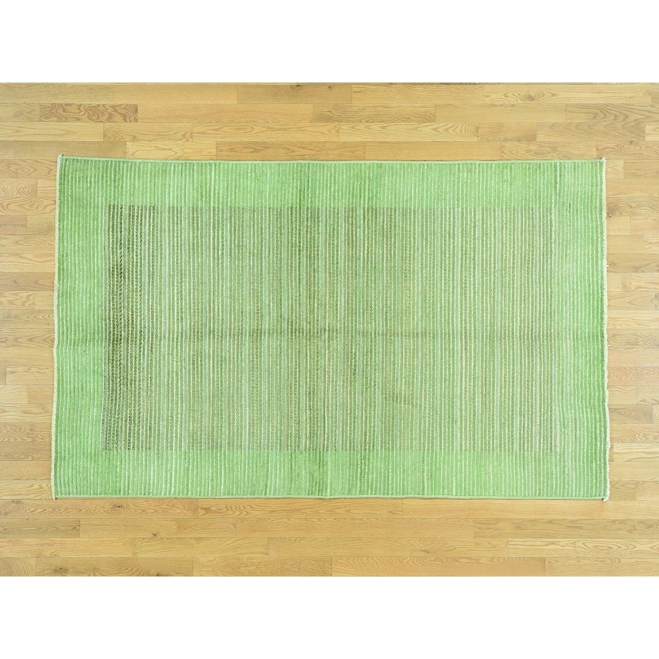 Hand Knotted Green Overdyed & Vintage with Wool Oriental Rug - 5 x 8