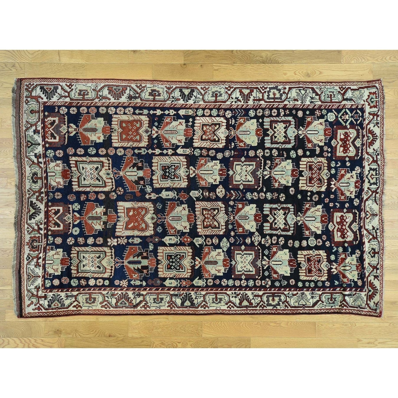 Hand Knotted Blue Antique with Wool Oriental Rug - 66 x 10