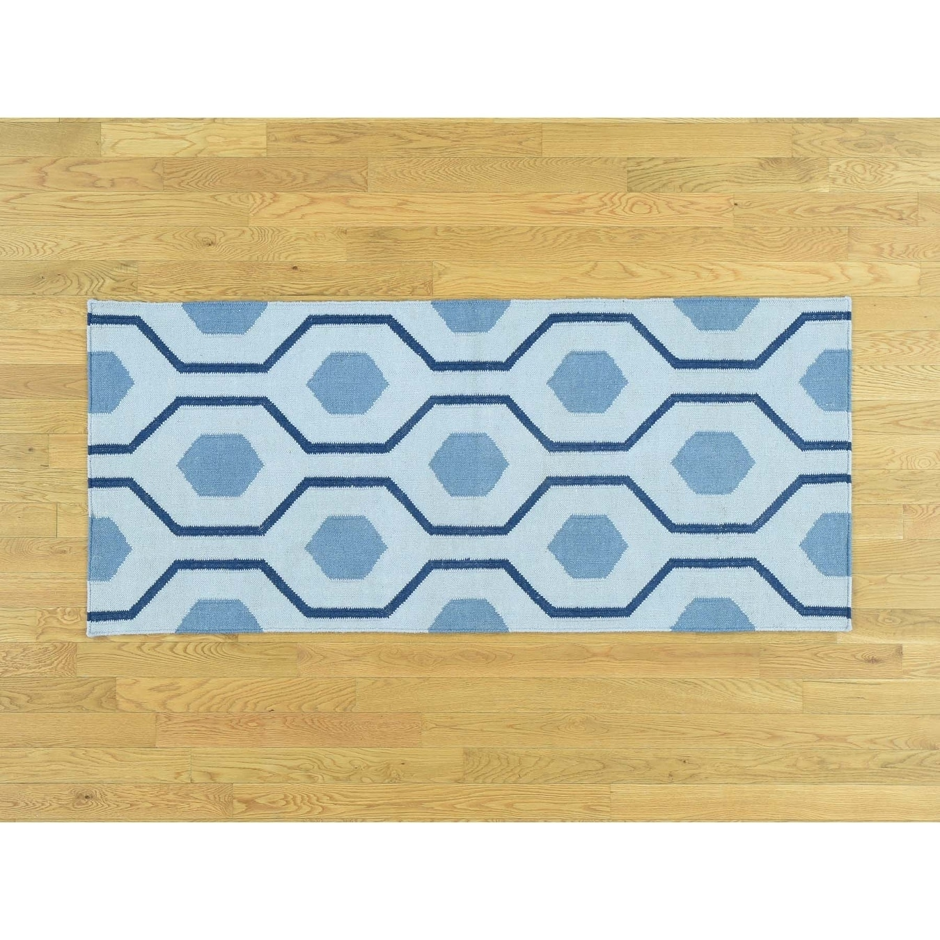 Hand Knotted Blue Flat Weave with Wool Oriental Rug - 27 x 6
