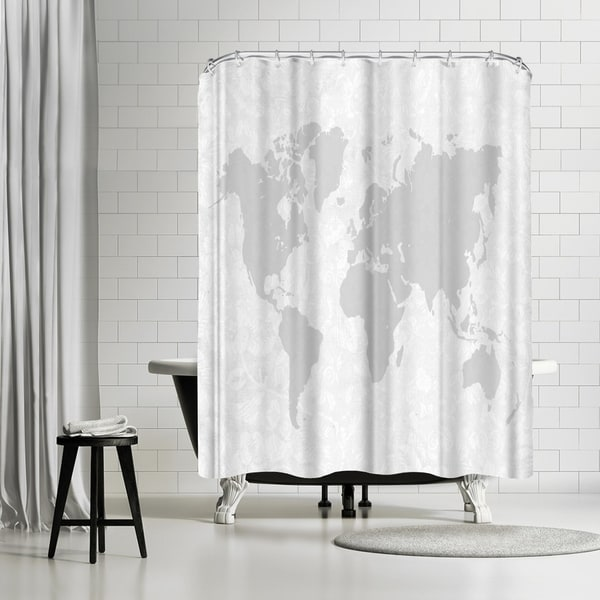 Shop Americanflat Intricate World Map Shower Curtain