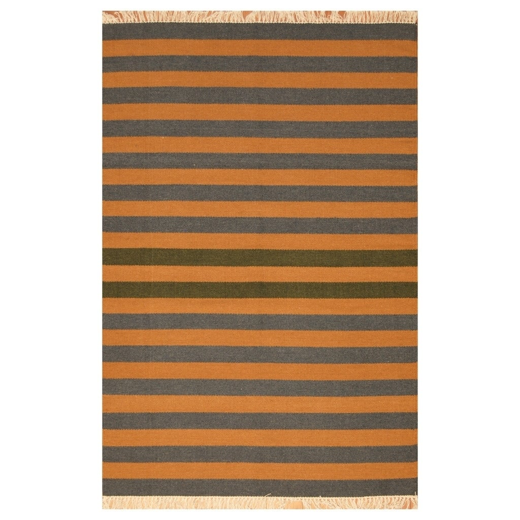 Handmade Herat Oriental Indo Hand-woven Tribal Wool Kilim (45 x 68) - 45 x 68 (Brown - 45 x 68)