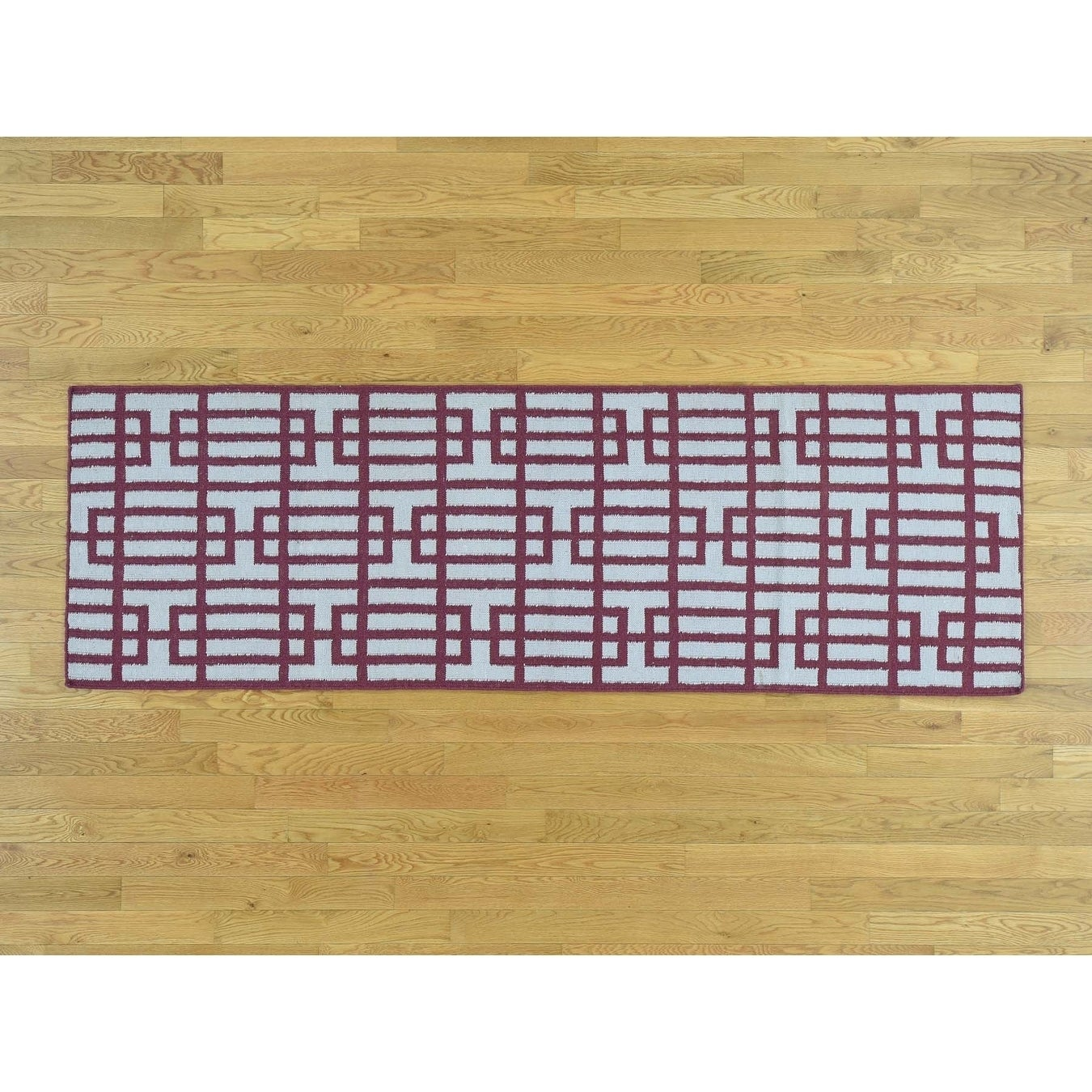 Hand Knotted Ivory Flat Weave with Wool Oriental Rug - 26 x 8