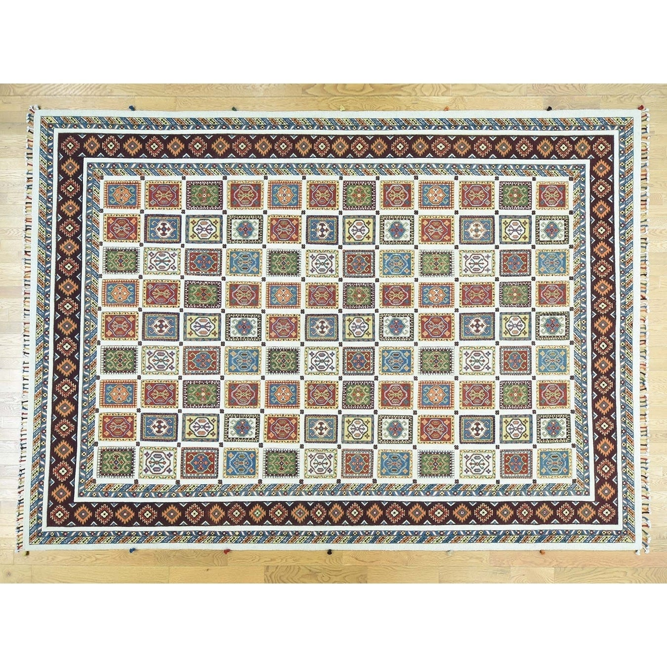 Hand Knotted Multicolored Tribal & Geometric with Wool Oriental Rug - 10 x 14