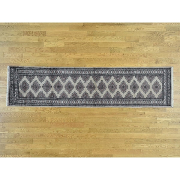 Hand Knotted Grey Tribal & Geometric with Wool Oriental Rug - 2'6 x 10'1