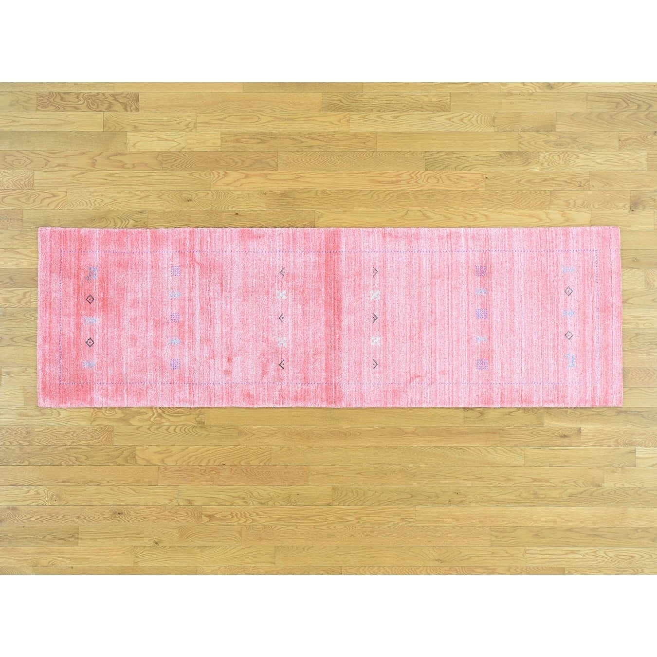 Hand Knotted Pink Modern & Contemporary with Wool Oriental Rug - 28 x 8