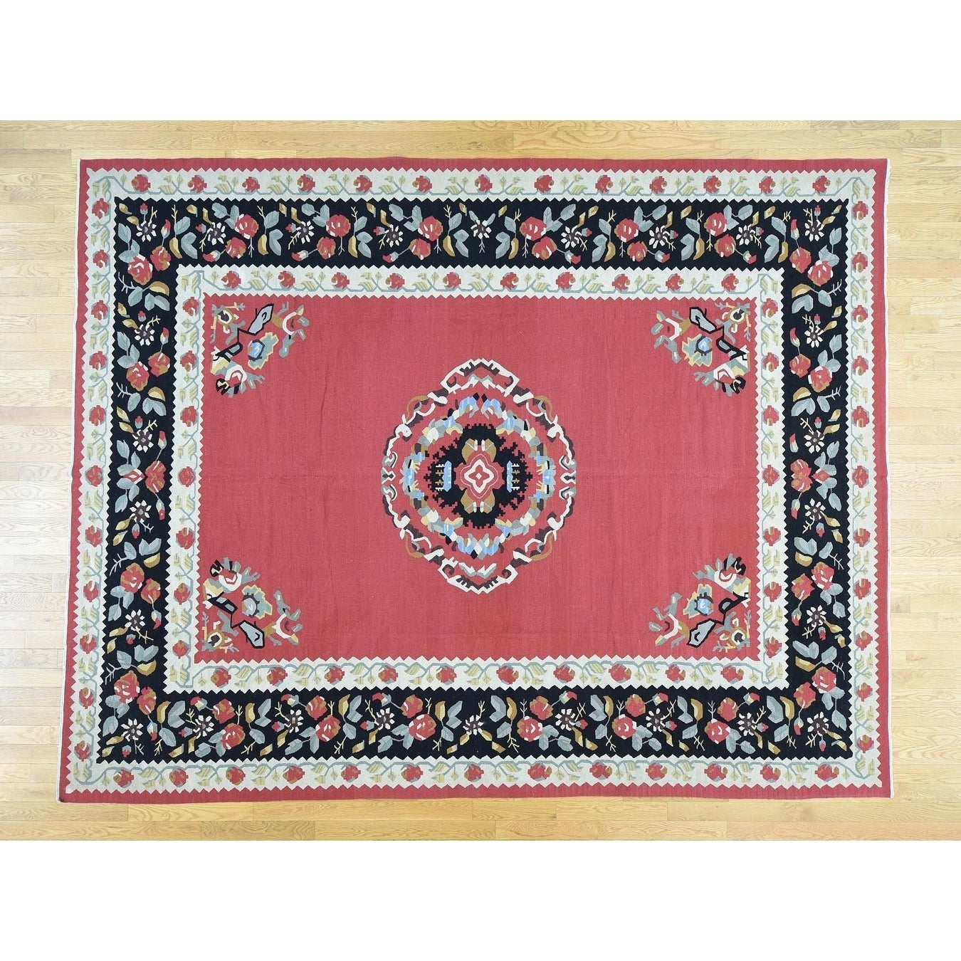 Hand Knotted Red Antique with Wool Oriental Rug - 93 x 12